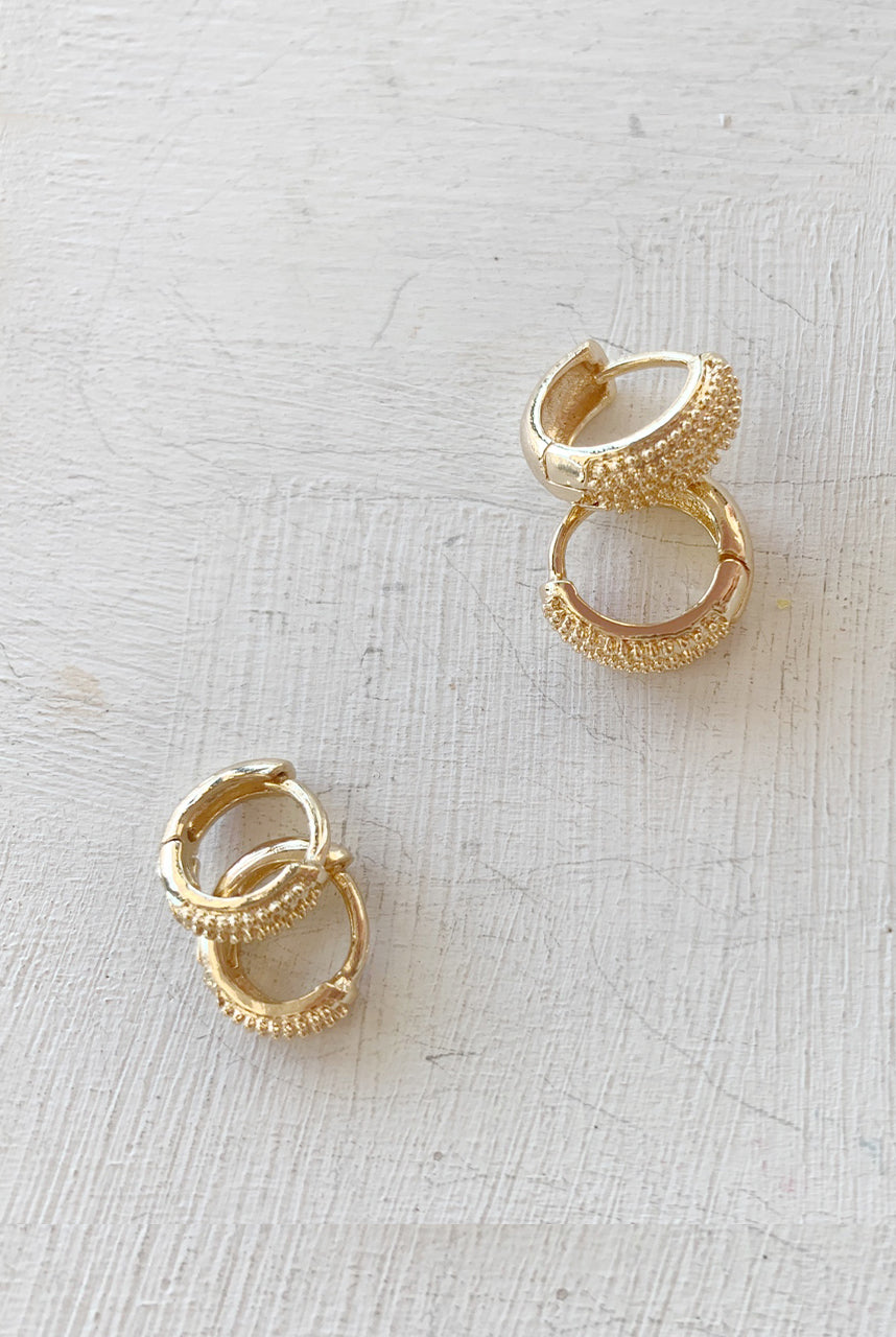 P&M Gold Micro Mini Huggie Earrings - Polkadots & Moonbeams LA