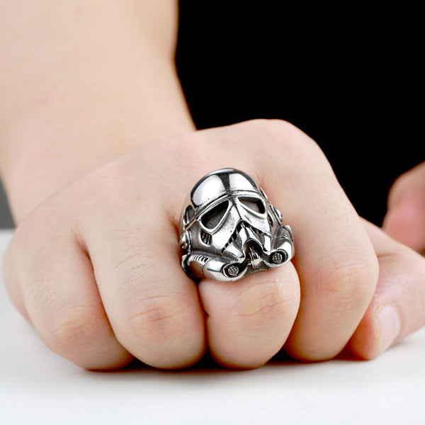 """Stormtrooper"" Stainless Steel Ring"
