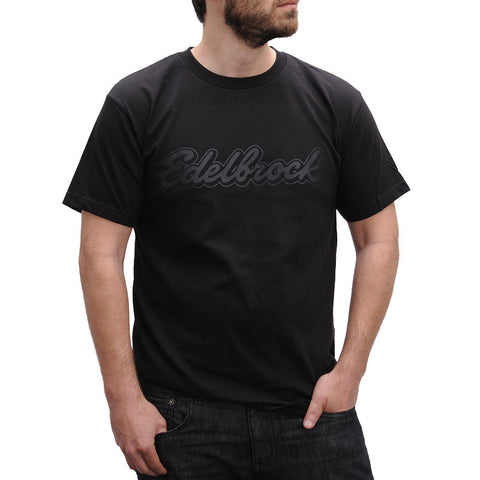 Black on Black Script Tee