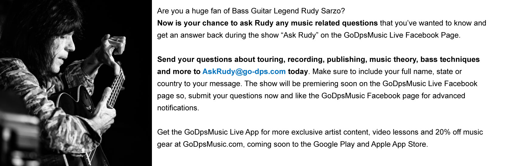 Ask Rudy Sarzo GoDpsMusic Live Show