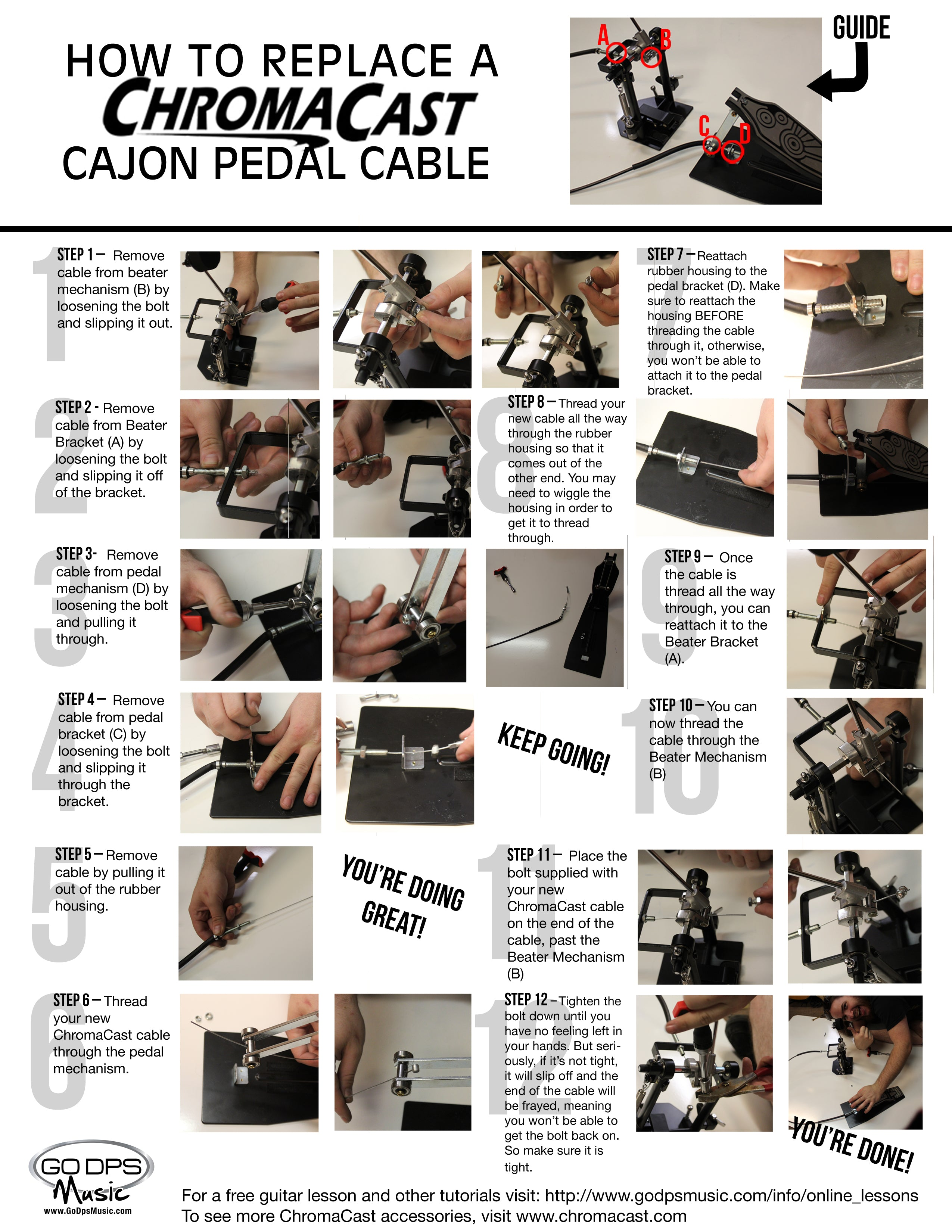 Cajon Pedal Cable Replacement