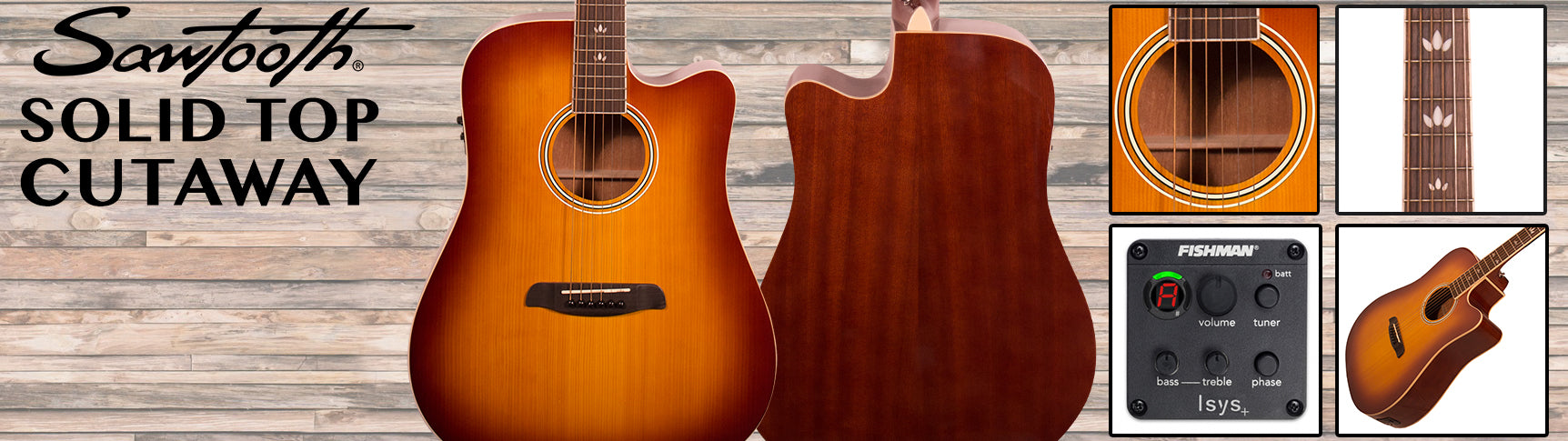 Sawtooth Solid Top Acoustic Electric Cutaways