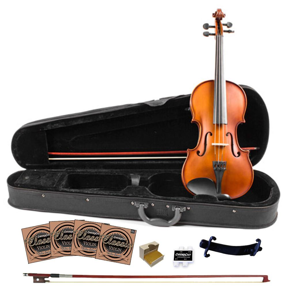 Rise by Sawtooth Student Violin with Carved Solid Spruce Top & Maple Back and Sides, 3/4 Size