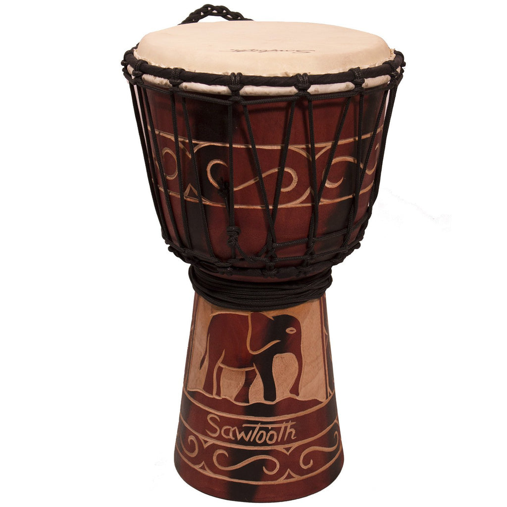 "Sawtooth Harmony Series 8"" Hand Carved Elephant Design Rope Djembe"