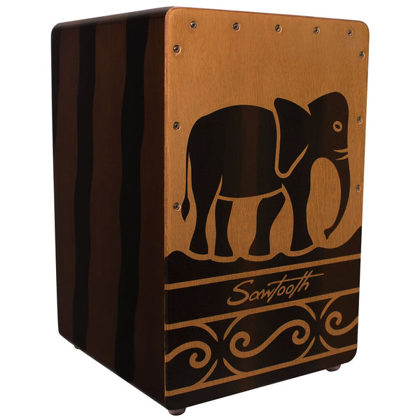 Sawtooth Harmony Series Hand Stained Elephant Design Compact Size Cajon