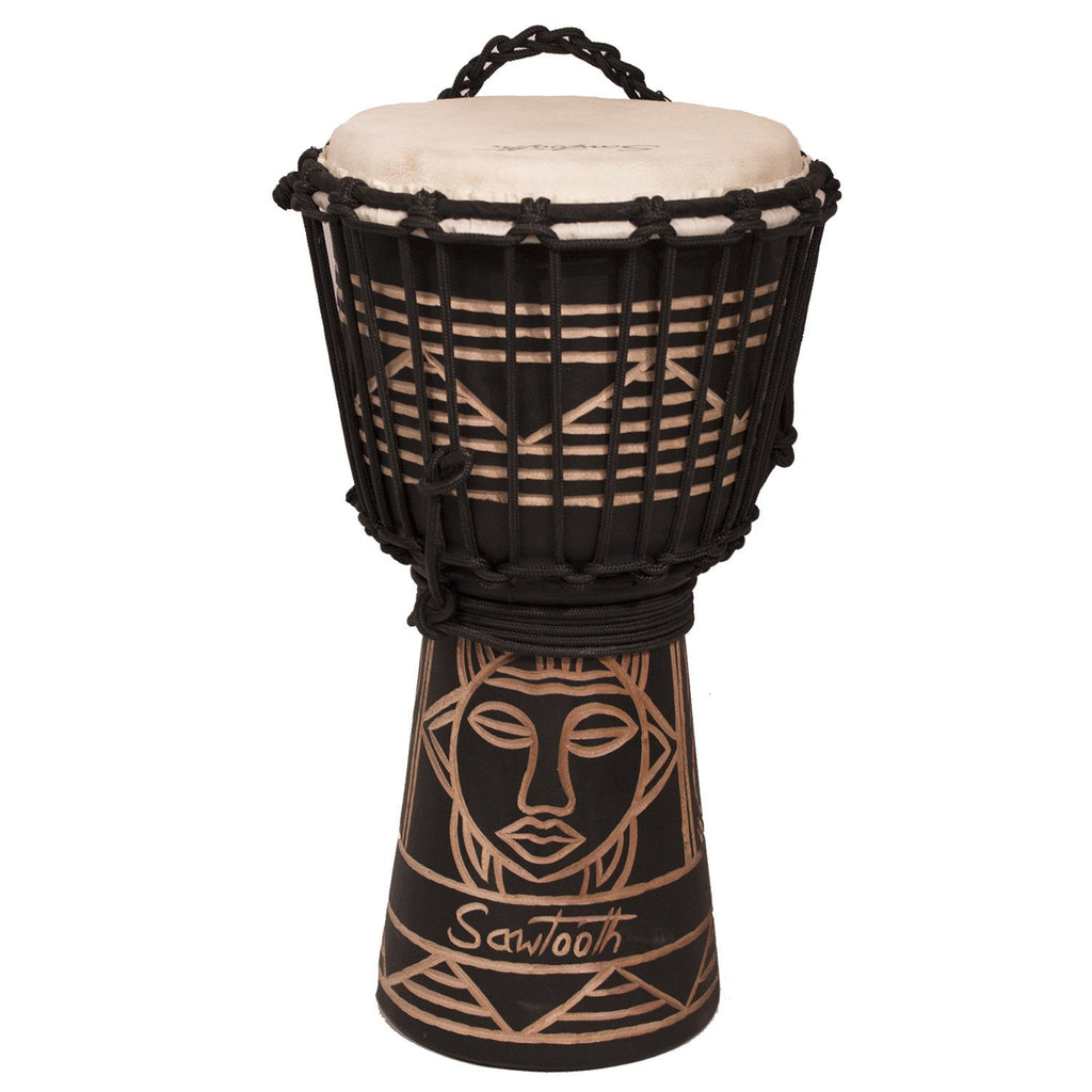"Sawtooth Harmony Series 8"" Hand Carved Spirit Design Rope Djembe, Satin Black Finish"