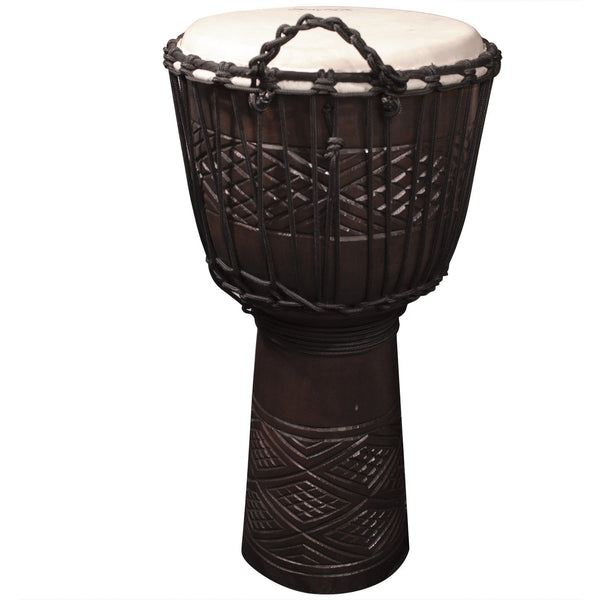 "Sawtooth Tribe Series 12"" Hand Carved Congo Design Rope Djembe"
