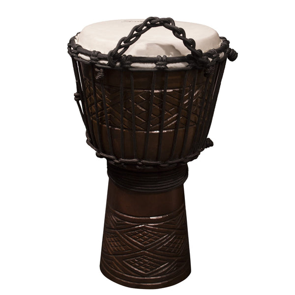 "Sawtooth Tribe Series 8"" Hand Carved Congo Design Rope Djembe"