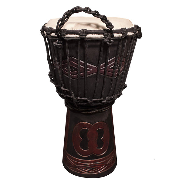 "Sawtooth Tribe Series 8"" Hand Carved Unity Design Rope Djembe"