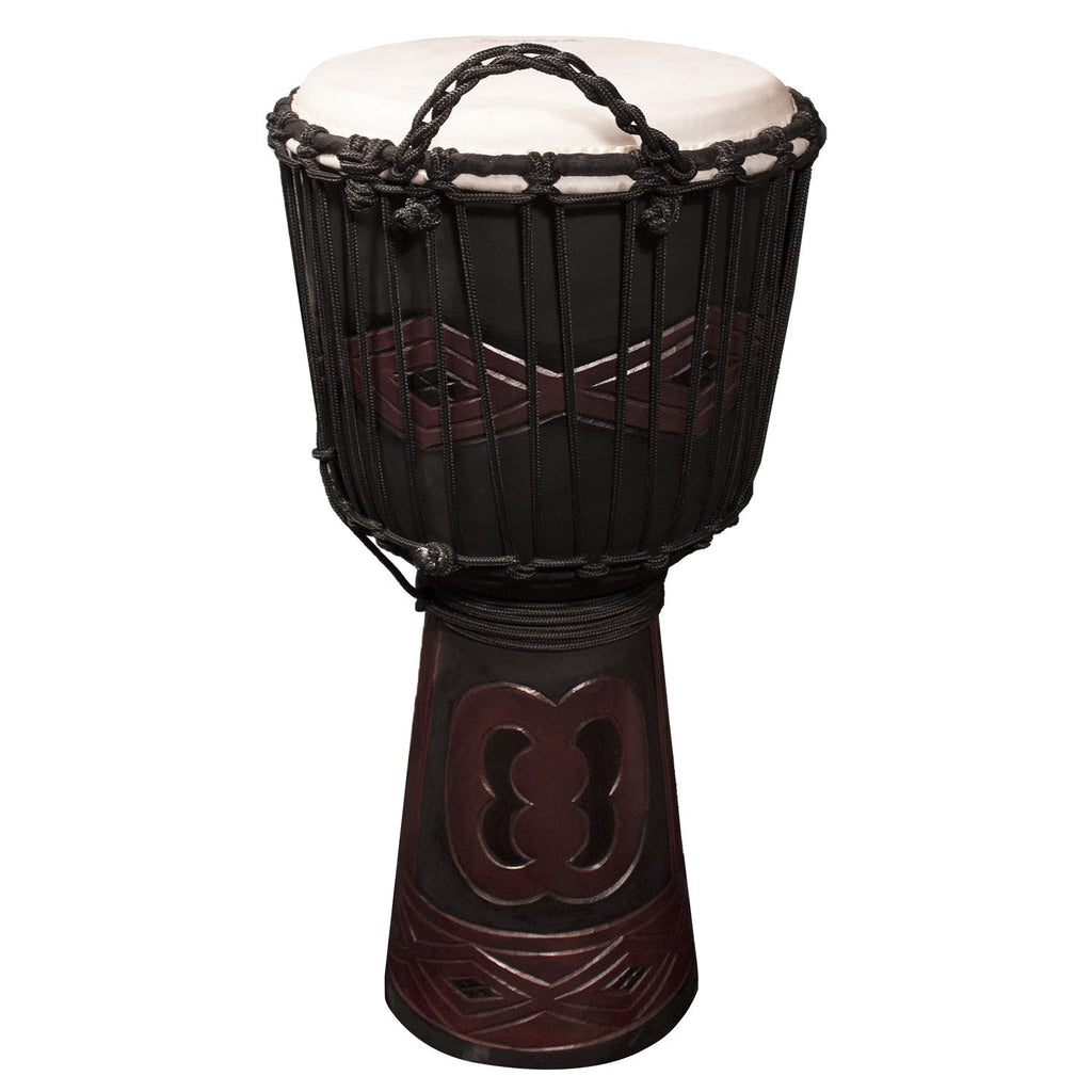 "Sawtooth Tribe Series 12"" Hand Carved Unity Design Rope Djembe"