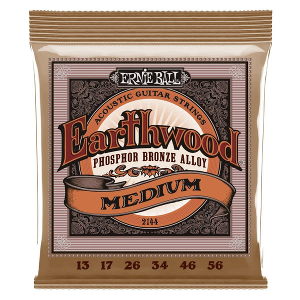 Ernie Ball 2144 Earthwood Medium Phosphor Bronze Acoustic String Set, .013 - .056