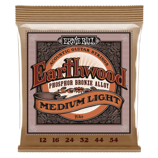 Ernie Ball 2146 Earthwood Medium Light Acoustic Phosphor Bronze Acoustic Guitar String Set, .012 - .054