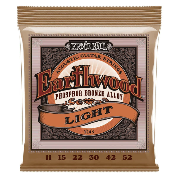 Ernie Ball 2148 Earthwood Light Phosphor Bronze Acoustic Guitar String Set, .011 - .052