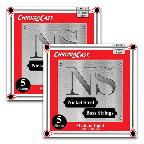ChromaCast Nickel Steel 5-String Bass Guitar Strings, 45-128, Medium Light, 2 Packs