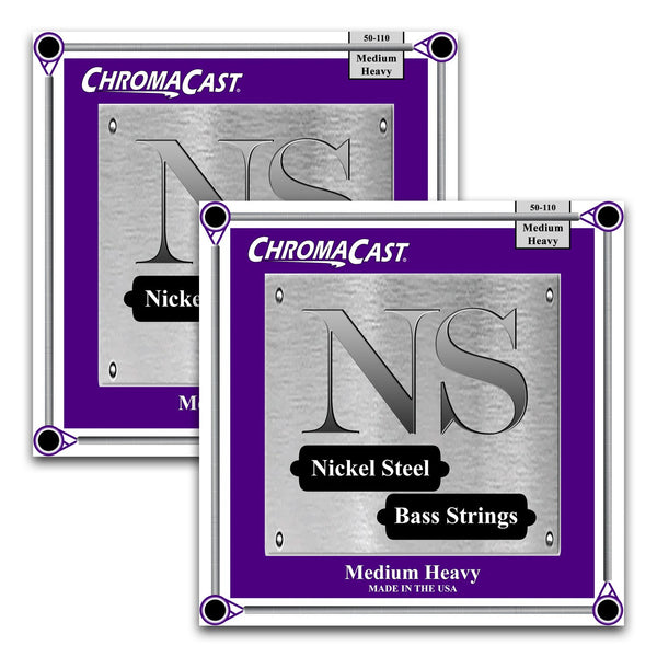 ChromaCast Nickel Steel Bass Guitar Strings, 50-110, Medium Heavy, 2 Packs