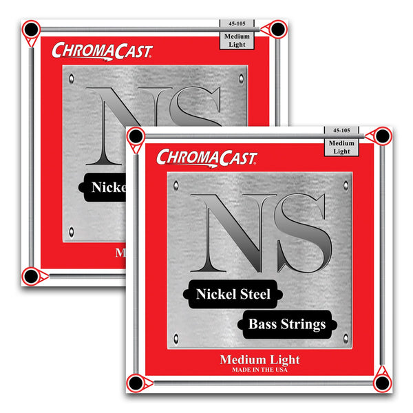 ChromaCast Nickel Steel Bass Guitar Strings, 45-105, Medium Light, 2 Packs