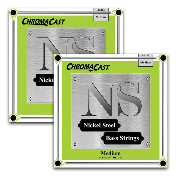 ChromaCast Nickel Steel Bass Guitar Strings, 48-106, Medium, 2 Packs