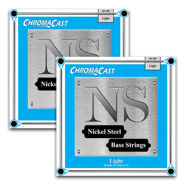 ChromaCast Nickel Steel Bass Guitar Strings, 40-100, Light, 2 Packs