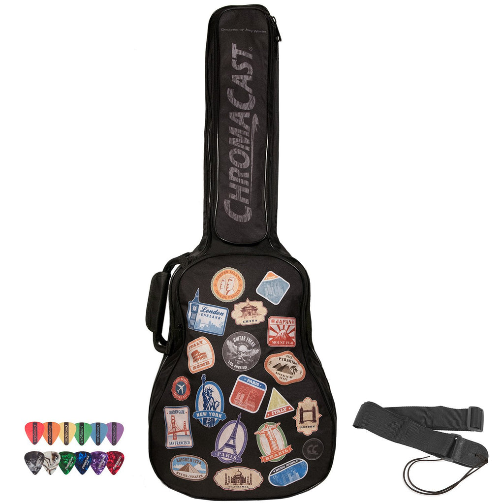 ChromaCast World Tour Graphic Two Pocket Acoustic 3/4 Size Guitar Padded Gig Bag with Guitar Strap & Pick Sampler
