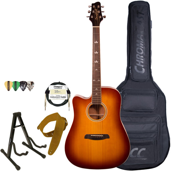 Sawtooth Left Handed Solid Top Acoustic-Electric Dreadnought Cutaway with Gig Bag and Accessories, Vintage Burst