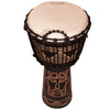 "Sawtooth Harmony Series 12"" Hand Carved Spirit Design Rope Djembe, Satin Black Finish"