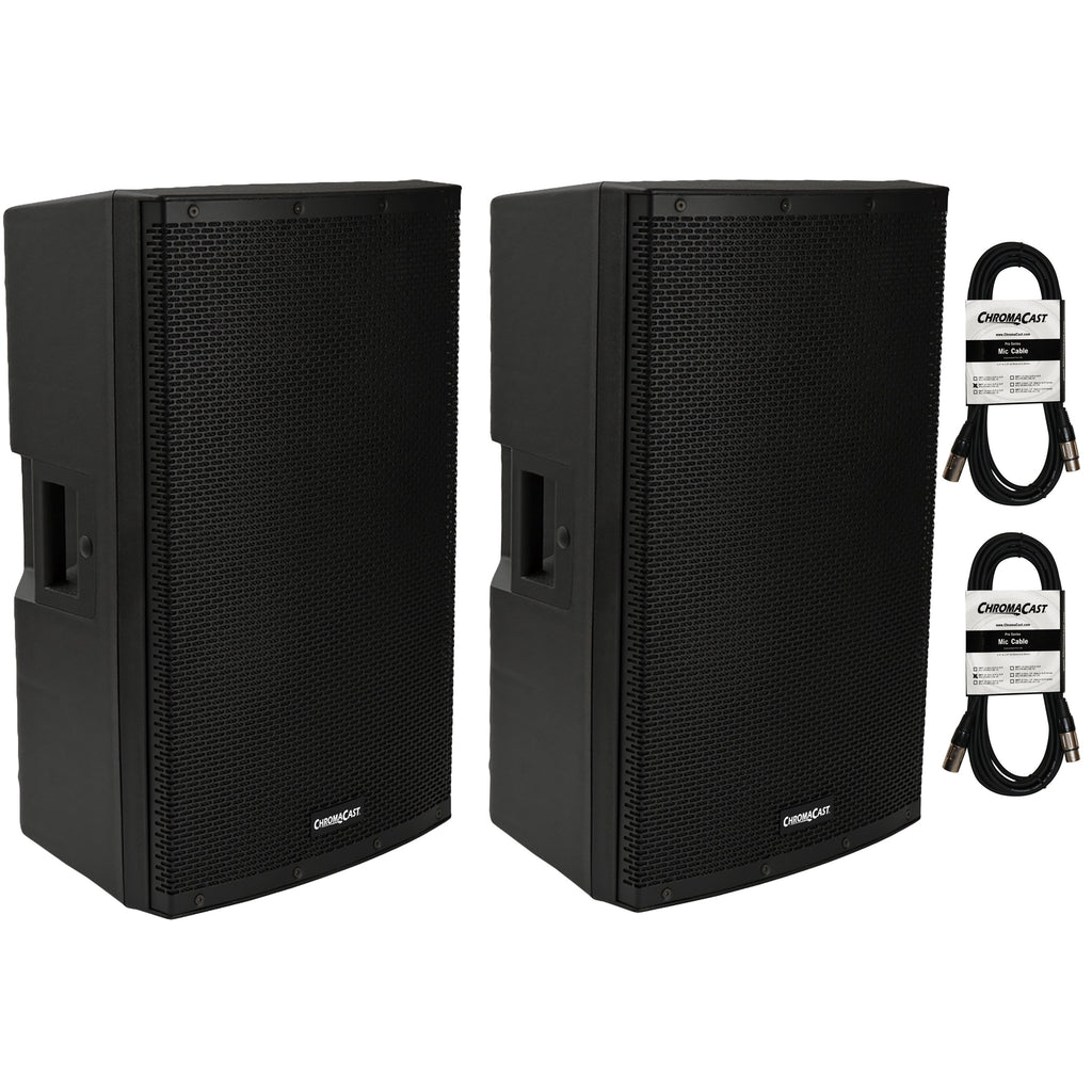 "Chromacast 2-way 15"" Active PA Speakers with Speaker Cables"