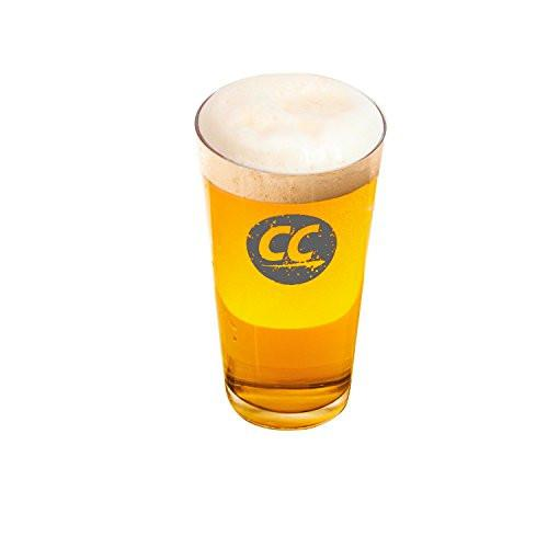 ChromaCast Stamped Logo Pub Beer Glass, 16.5-Ounce, Set of 4