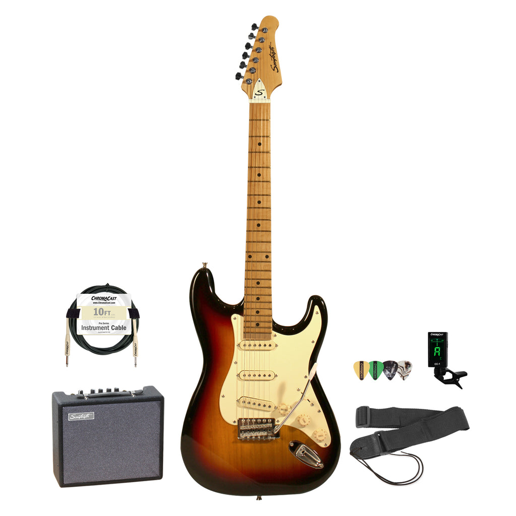 Sawtooth Sunburst ES Series Electric Guitar w/ Vintage White Pickguard - Includes: Accessories & 10-Watt Amp