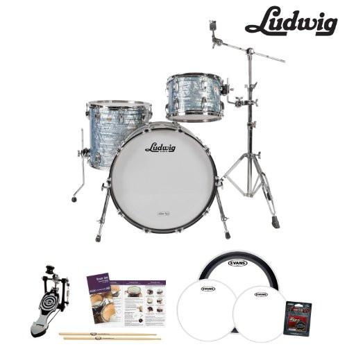 Ludwig USA Classic Maple 3 Pc Drum Kit in Sky Blue Pearl (L8303AX52WC) - Includes: Pedal, Drumsticks & Drumhead pack