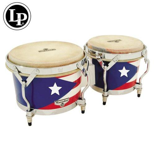 LPM201-PR Mini Tunable Puerto Rican Flag Wood Bongos