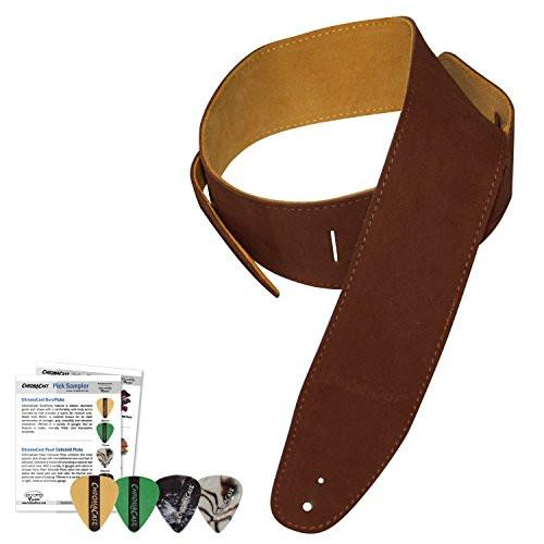 ChromaCast Chocolate Suede Guitar Strap with 4 pick sampler