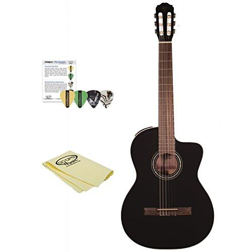 Takamine GC3CE BLK-KIT-1 Classical Guitar Kit with 4 Pick Sampler & Polish Cloth, Black