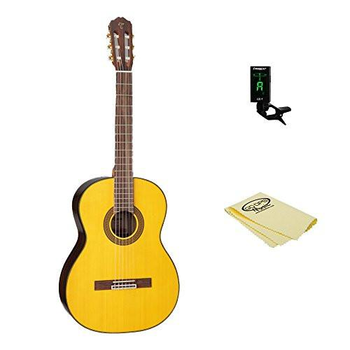 Takamine GC5 Classical Guitar, Natural, with ChromaCast Tuner & Polish Cloth