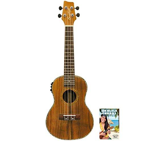 Sawtooth Acacia Concert Ukulele with Preamp & Quick Start Guide, Natural Satin
