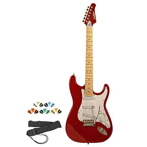 Sawtooth Candy Apple Red ES Series Electric Guitar w/ Pearl White Pickguard - Includes: Strap, Picks & Online Lesson
