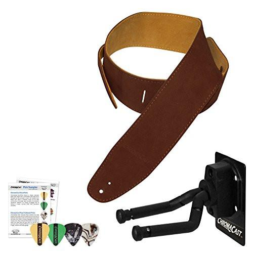ChromaCast Guitar Wall Hanger, Picks and Chocolate Suede Strap Bundle