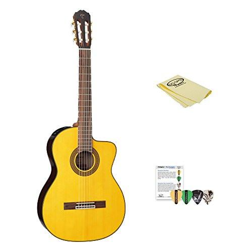 Takamine GC5CE Acoustic Electric Classical Cutaway Guitar, with ChromaCast Pick Sampler & Polish Cloth