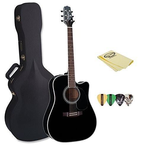 Takamine EF341SC Pro Series Dreadnought Acoustic Electric Guitar Black with Hard Case, Pick Sampler & Polish Cloth