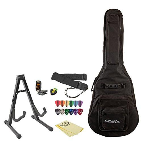 ChromaCast Acoustic Guitar Accessory Pack with Pick Holder, ChromaCast Gig Bag, Stand, Strap, Tuner, Picks, GoDpsMusic Polish Cloth and Online Lesson