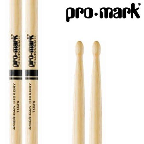 Promark 5A 2 Pack - TX5AW American Hickory, Natural Wood Tip Drumsticks