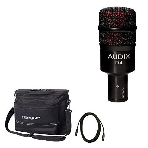 Audix D4 Dynamic Instrument Microphone with ChromaCast 18.5' Mic Cable and Musician's Gear Bag