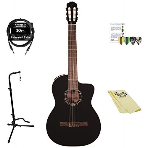 Takamine GC3CE BLK-KIT-1 Classical Guitar Kit with Accessories, Black