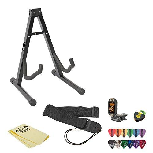 ChromaCast Acoustic Guitar Accessory Pack with Stand, Strap, Online Lesson, Polish, Pick Holder, Tuner, Cloth and Picks