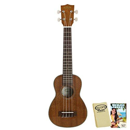 Kala KA-SLNG Long Neck Soprano Ukulele with GoDpsMusic Ukulele Chord Guide and Polish Cloth