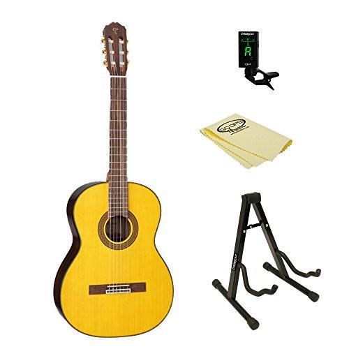 Takamine GC5 Classical Guitar, Natural, with ChromaCast Tuner, Stand, & Polish Cloth