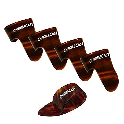 ChromaCast 4 Finger 1 Thumb Pick Pack, Shell, Medium