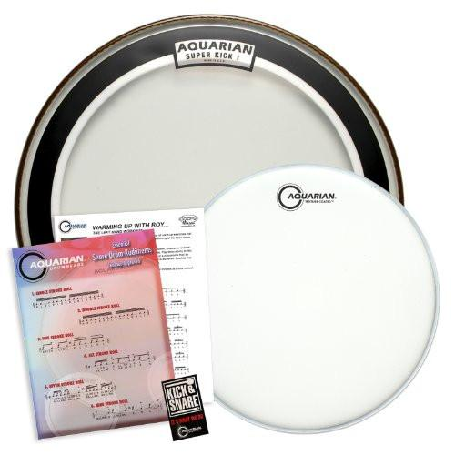 "Aquarian Value Pack: 24"" Clear Super Kick (SKI) Bass Drumhead & 14"" Texture Coated (TC14) Snare Drum Head"
