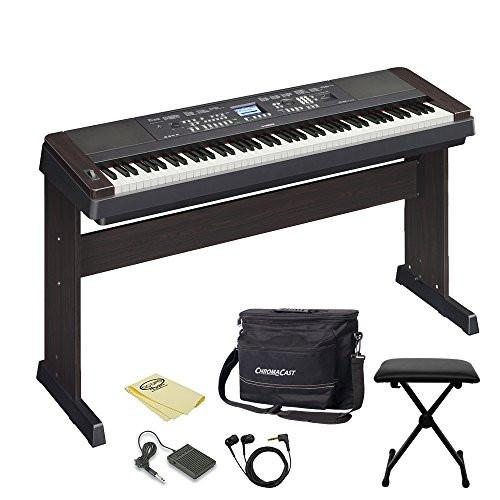 Yamaha DGX650B 88-Key Digital Piano in Walnut Finish - Includes: Keyboard Bench, Musicians Gear Bag, Earbuds and Polish Cloth