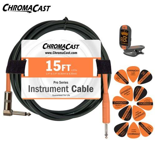 ChromaCast Sunset Orange Guitar Accessory Pack - Includes: 15ft Straight-Angle Cable, Tuner & Pick Sampler