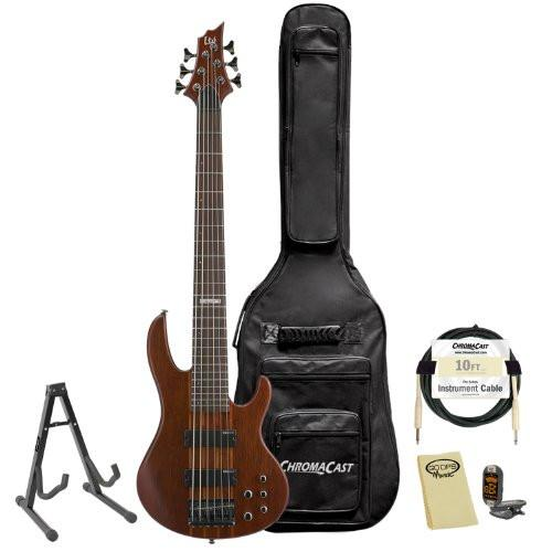 ESP LTD D-6-NS Natural Satin 6-String Electric Bass w/ Accessories & Gig Bag